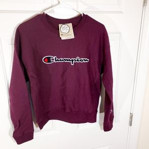 Champion | dark purple fleece crewneck (nwt)